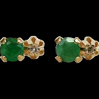 10K YG Emerald & Diamond Earrings