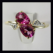 14K Yellow Gold Pink Topaz Ring Size 7