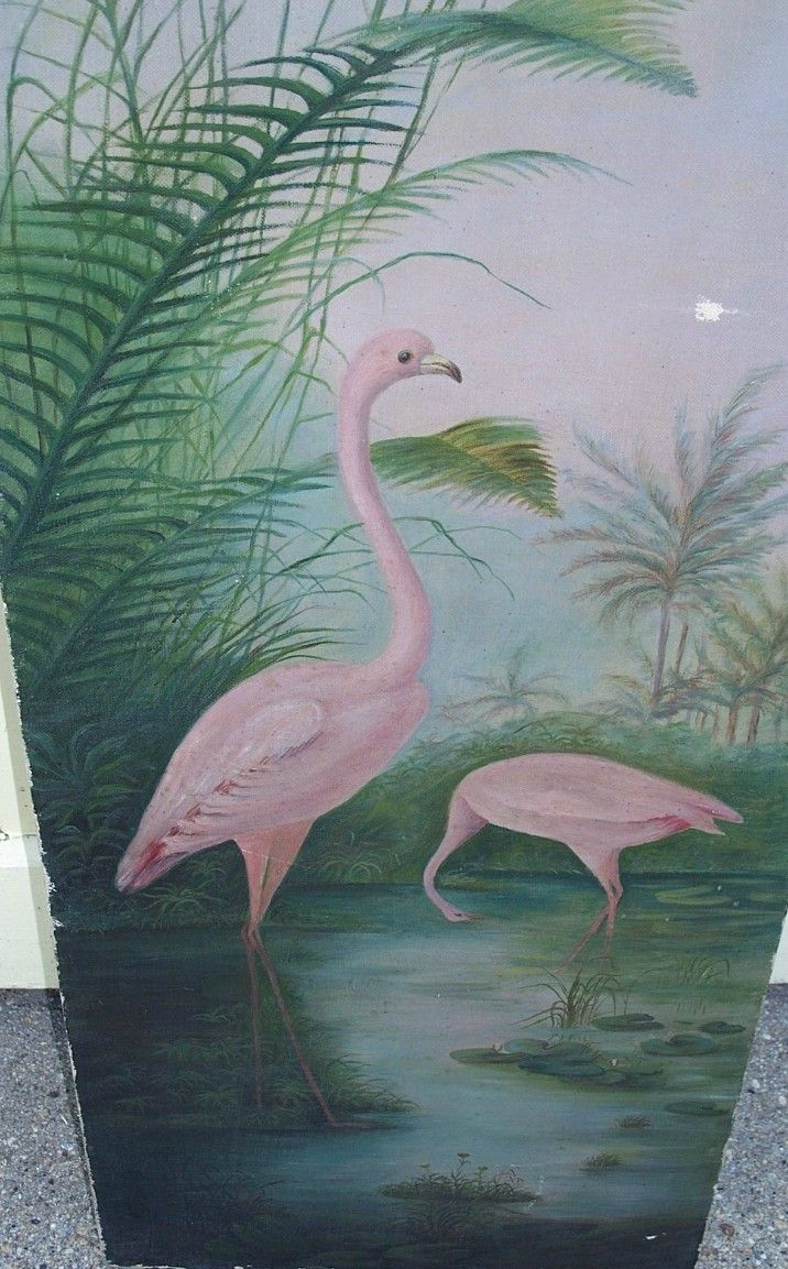 Antique Pink Flamingo Painting 1880s