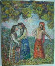 Mortimer Borne   Ruth and Naomi  Oil Painting