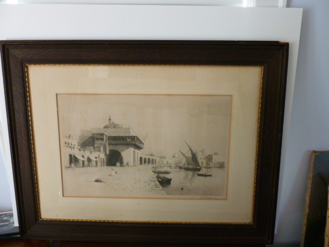 "Lemuel D Eldred   ""Admirality Quay"" Original etching"