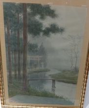 Japanese Water garden   Vintage painting