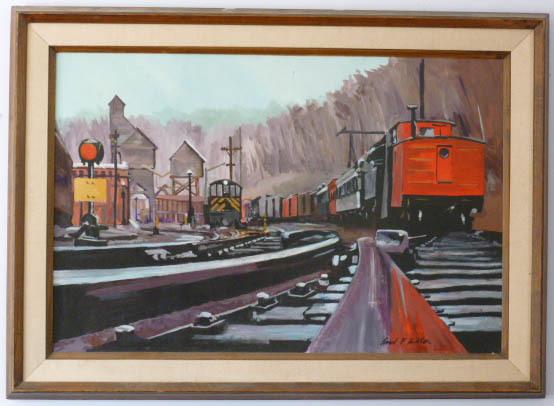 Train Yard   Large oil   Paul F Ashton