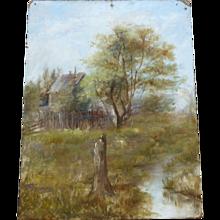 Adirondack landscape oil painting  1890's