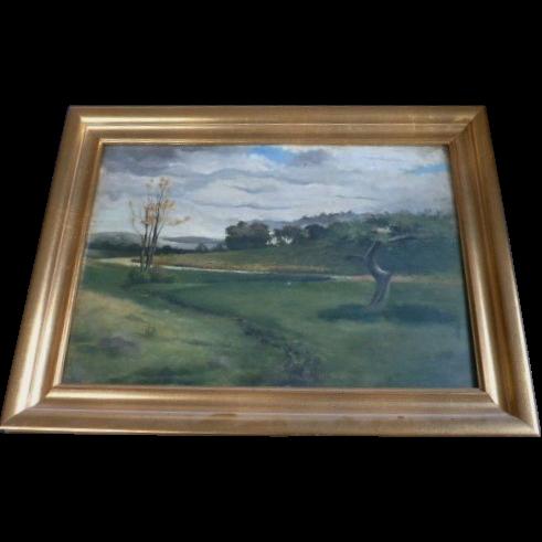Barbizon landscape oil on panel  Vintage