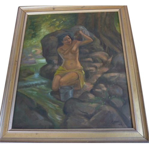 C . Aono  1950  Tropical Island  Vintage Oil  Painting