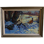 Pheasant in Snow  Oil by Robert Duffy listed artist