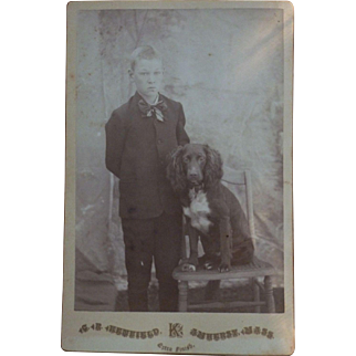 Boy with spaniel Dog CDV