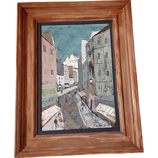Charles Levier , PARIS STREET scene , OIL painting