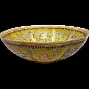 Large - Asian Eggshell Bowl - Yellow Glaze, Dragon, Lotus Flower - Hallmark