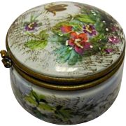 French - European - Enameled Porcelain & Brass Dresser Box - # Marked
