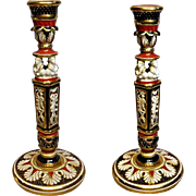 Royal Crown Derby Candlesticks - Pair - 9.5 Inches Tall - Unmarked
