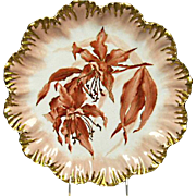 Limoges Charger, A&L France - 12 Inch - Hand painted Lily Orchard - Gilded