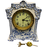 "Ansonia Mantel Clock - ""Pawnee"" - Ceramic - Delft Blue Scenic Case - Clean Case"