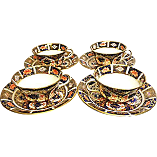 Royal Crown Derby Porcelain - (4) Cups & Saucers - Clearly Marked