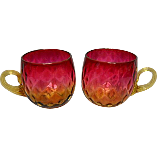 Amberina - Ruby to Amber - Two Punch Cups - New England Glass Co.
