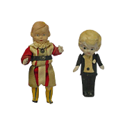 Vintage German & Japan All Bisque Groom Doll & Celluloid Boy Doll