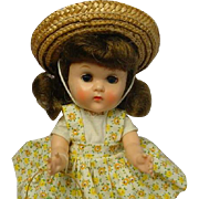 VOGUE Ginny Brunette BKW Doll 1957 w/Tagged Outfit CUTIE