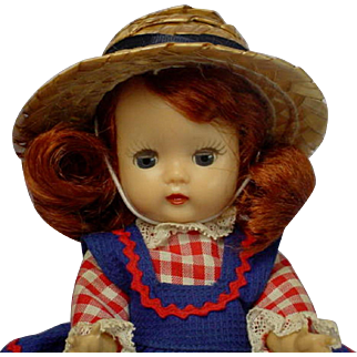 Nancy Ann Storybook Muffie Dark Auburn Doll Original Dress