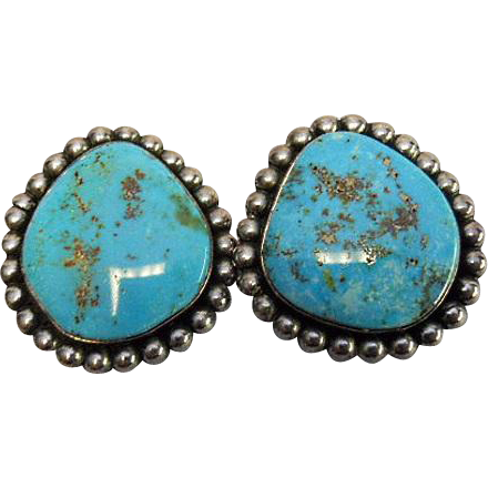 Turquoise Earring Navajo Native American Sterling Clip Sold Ruby Lane