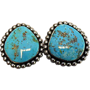 Turquoise Earring - Handmade Navajo/ Native American - Sterling Clip Backs