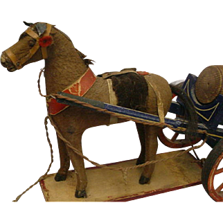 Vintage German Pull Toy Horse & Barrel Wagon 1920's-30's FABULOUS