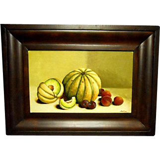 John Dunn - Oil Painting - Melon & Plum Still Life - Sign & Date 1990