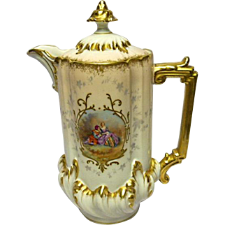 Limoges Chocolate Pot - Scenic Figures - Gilded - Exceptional Condition - Unmarked
