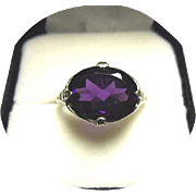 """14k Ring - AMETHYST """"AAA"""" Quality - Deep Purple / Violet Color - Art Deco Filigree - White Gold"""