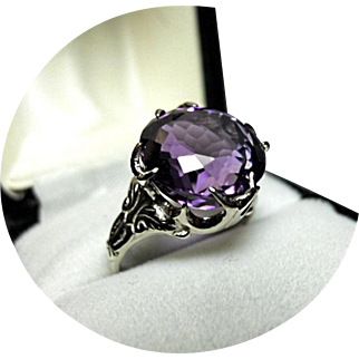 """Amethyst - """"AA+"""" Color - 8.97CT - Fancy Cut - 14k White Gold - Vintage Mounting"""