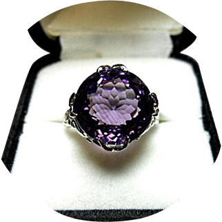 """14k Amethyst Ring - """"AA+"""" Color - 8.97CT - Fancy Cut - White Gold - Vintage Mting"""