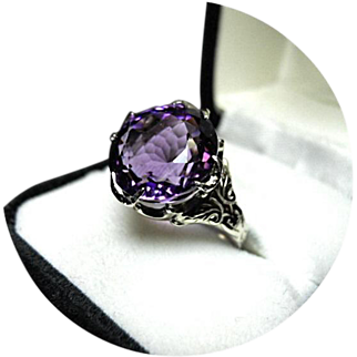 "14k Amethyst Ring - ""AA+"" Color - 8.97CT - Fancy Cut - White Gold - Vintage Mting"