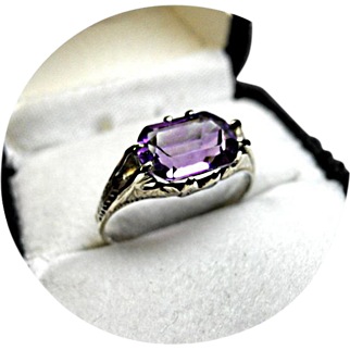 14k Ring - AMETHYST - 'AA' Quality and Color - 2.36 Ct. - Fancy Cushion Cut - White Gold Ring