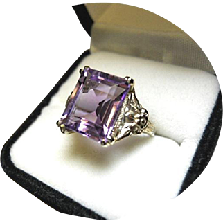 """Amethyst Ring - 5+Ct """"AA"""" Violet-Purple Color - 14k White Gold"""