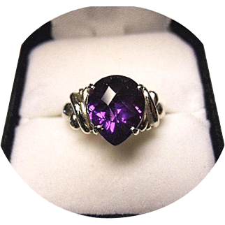 AMETHYST Ring - 'AAA' Quality 4.05 CT - Teardrop Checkerboard Cut - Vintage 14K White Gold