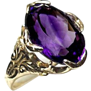 AMETHYST Ring - 'AAA' Quality - 6.5 Carat - Oval Faceted - 14k Yellow Gold