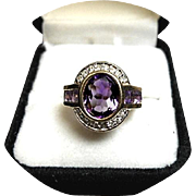Amethyst Ring - Oval, 3.50Ct and Channel Amethyst - Diamond Melee, 14k Yellow Gold