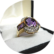 Amethyst Ring - Oval, 3.50Ct and Channel Amethyst - Diamond Melee, 14k Y. Gold