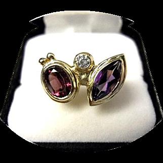 Rhodolite, Amethyst & Diamond, Ring – Vintage 14k Yellow Gold - 8.1 Grams TCW