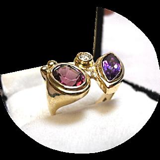Rhodolite, Amethyst - Diamond, Ring - Vintage 14k Yellow Gold - 8.1 Grams TCW
