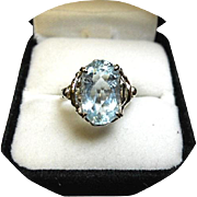 AQUAMARINE Ring - Nice Blue - 3.46 Ct. - Vintage 14k White Gold Filigree Design