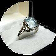 14k Aquamarine - Art Deco Filigree Ring - 2.89CT Ocean Blue - Earth Gem - White Gold