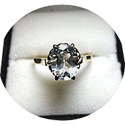 Aquamarine Ring - Nice Blue! Oval Faceted - 2.03 Carat - Vintage - 14K Yellow Gold