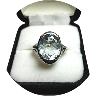 AQUAMARINE Ring - Ocean Blue - 4.10 Ct - 14k White Gold, Art Deco Fern Design