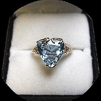 Aquamarine Ring - Prime Blue Color - Pear Cut - 2.64 Ct. - Vintage 14k Yellow Gold