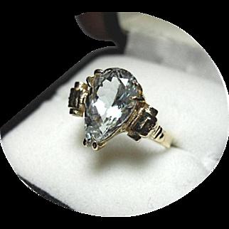 AQUAMARINE Ocean Blue/Grn Ring - 4.26 CT - Tear Cut - Earth Gem - 14K Yellow Gold