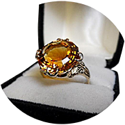 14k Ring - GOLDEN CITRINE - Fancy Cut - 9.33 CT - Vintage Yellow Gold Mounting