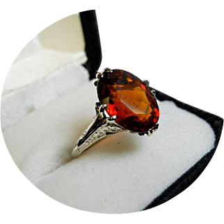 Precious, Rare, Prime Color - MADEIRA Citrine Ring - 5.19 CT - Vintage 14k White Gold Filigree  Sculpted Mounting