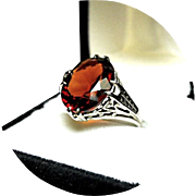 Rare! Brilliant! Sherry MADEIRA Citrine, 5.50CT - Vintage Filigree Ring - 14k White Gold