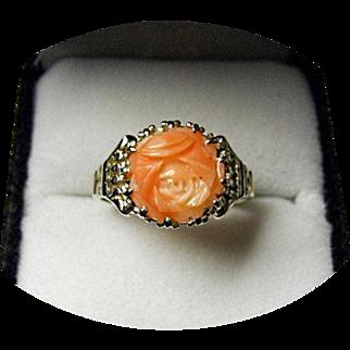 CORAL - Rose Carved Ring - Natural & Untreated Gem - Vintage 14k White Gold